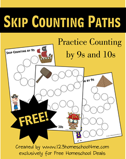Skip Counting Paths - Counting by 9s and 10s for Homeschool Math