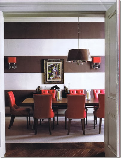 red and brown dining room