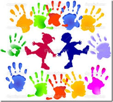 kids and handprints