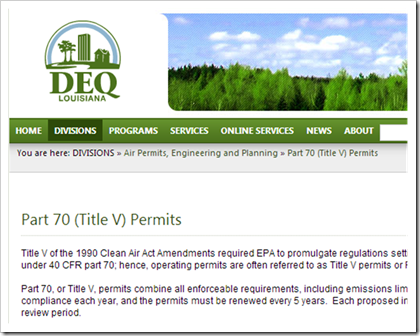 DEQ Louisiana Part 70 Title V Permits
