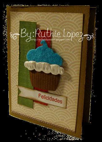 Cupcake card - Latina crafter - stamping paper 4
