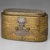 Box with a lid, 15th century; Mamluk Syria. Brass, engraved and inlaid with silver