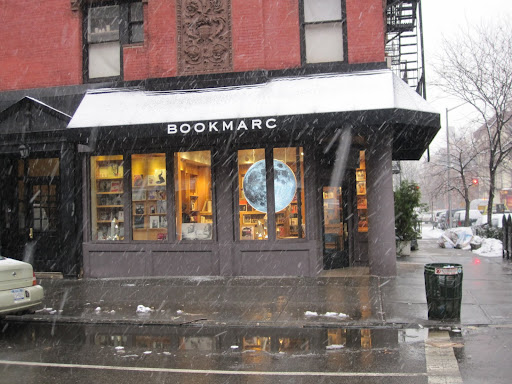 Another view from the outside of BookMarc -- you can see the snow starting to fall! BookMarc is located at 400 Bleecker Street in Manhattan.