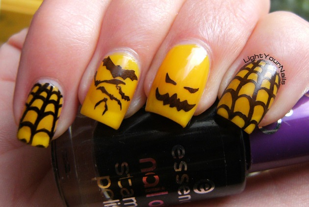 Halloween black and yellow nail art stamping with plate QA26