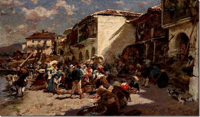 Francisco Pradilla Ortiz -Venta del pescado en la playa de Vigo, 1916