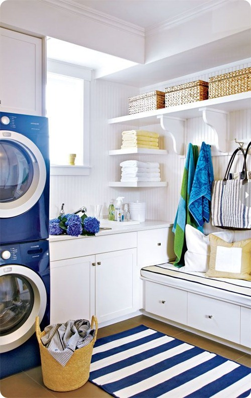 bright mud room and laundry