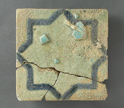 Tile | Origin: Syria or Anatolia | Period:  12th-13th century | Collection: The Madina Collection of Islamic Art, gift of Camilla Chandler Frost (M.2002.1.41) | Type: Ceramic; Architectural element, Fritware, carved and underglaze-painted, Height: 8 5/8 in. (21.91 cm); Width: 8 5/8 in. (21.91 cm); Depth: 1 1/16 in. (2.7 cm)