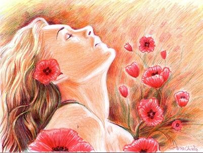 She is beuaitful like an opium dream - Fata cu maci desen