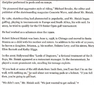 Page (2) of the article on Bob in the New York Times after his passing R.I.P.