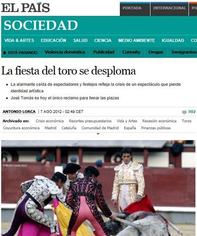 2012-08-07 El Pais La fiesta se desploma