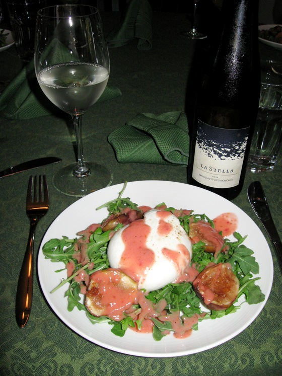 Burrata and Figs over Arugula