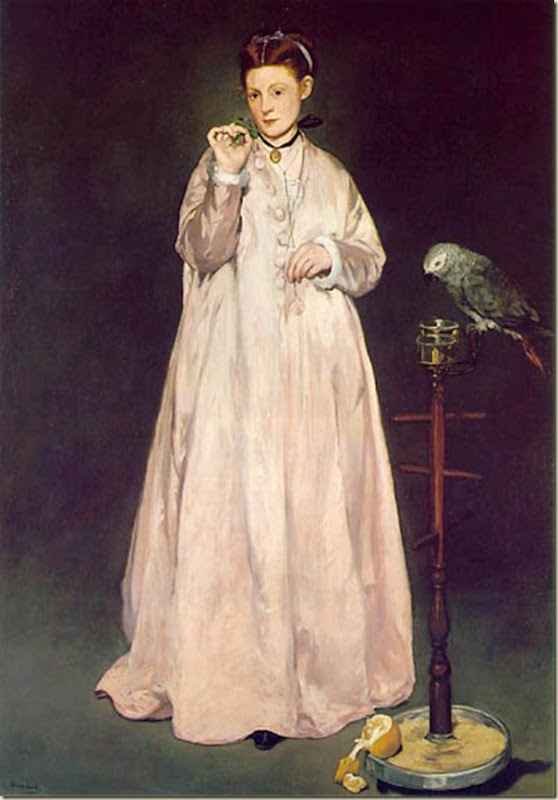 Manet, femme avec perroquet