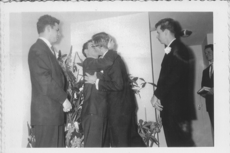 Philadelphia gay wedding. This photograph was part of a set that was deemed inappropriate by a photo shop in Philadelphia and never returned to the customer. Circa 1957.