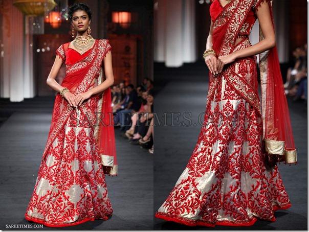 Jyotsna_Tiwari_Red_Lehenga_Style_Saree