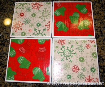 Christmas, coasters, tiles, mod podge, scrapbook paper