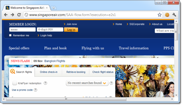 Singapore Airlines loading login form over HTTP