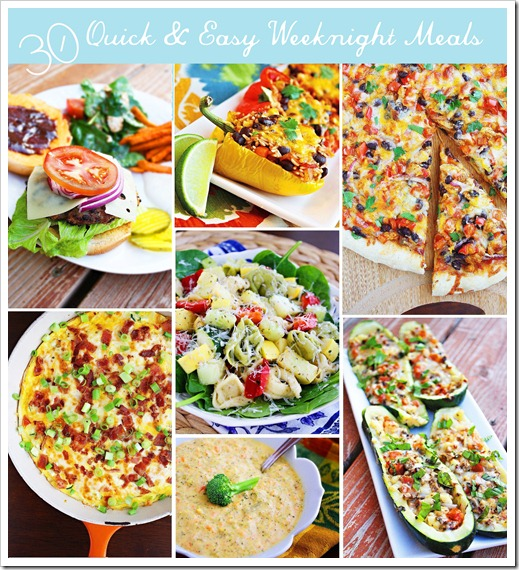 30 Quick & Easy Weeknight Meals – Dig into this delish list of 30 super quick & easy meals for those busy weeknights! | thecomfortofcooking.com