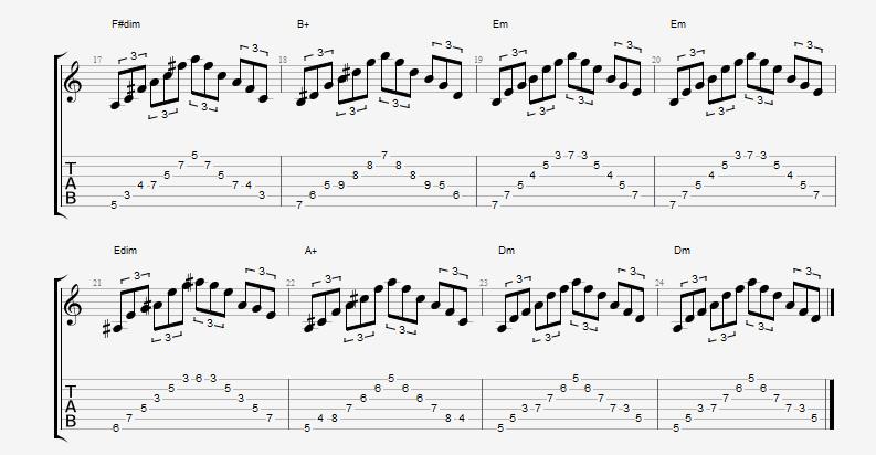 Frase Arpeggios triades diminutas, aumentadas e menores 2