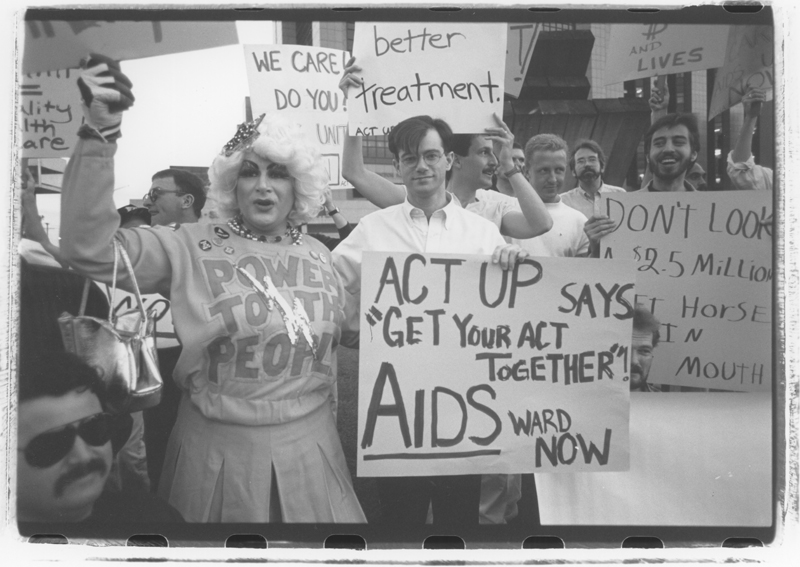 50 members of ACT UP zapped Cedar-Sinai Hospital for lack of an AIDS ward. Soon after the picket the Board of Directors voted to develop an AIDS ward. March 31, 1989.