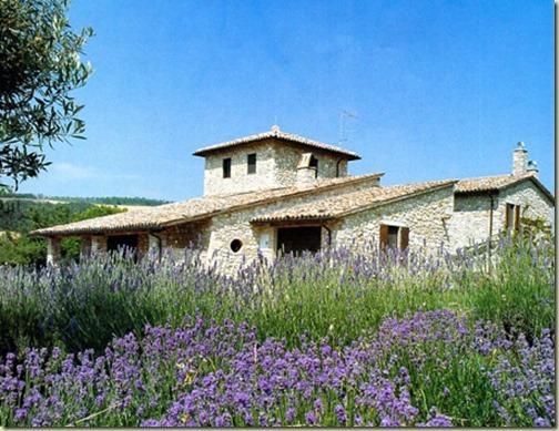 tuscan stone villa outside lavendar