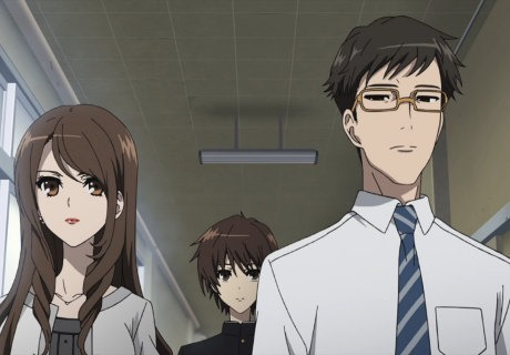 Two teachers, a female and a male, escort new transfer student Kouichi to class