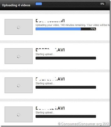 Uploading 4 videos, first one 75%, 140 minutes remaining