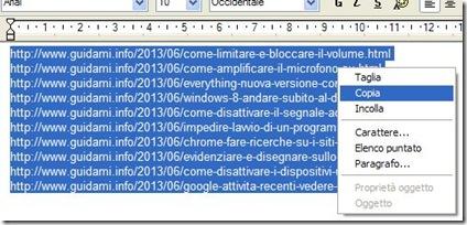 Copiare una lista di link da aprire su Firefox in una sola volta