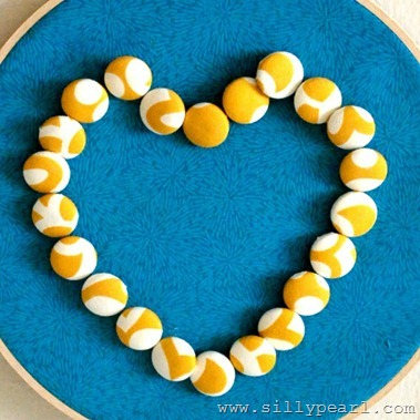 Embroidery Hoop Covered Button Heart - The Silly Pearl