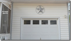 Texas Star over garage door.