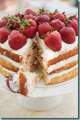 strawberry cream cake cut