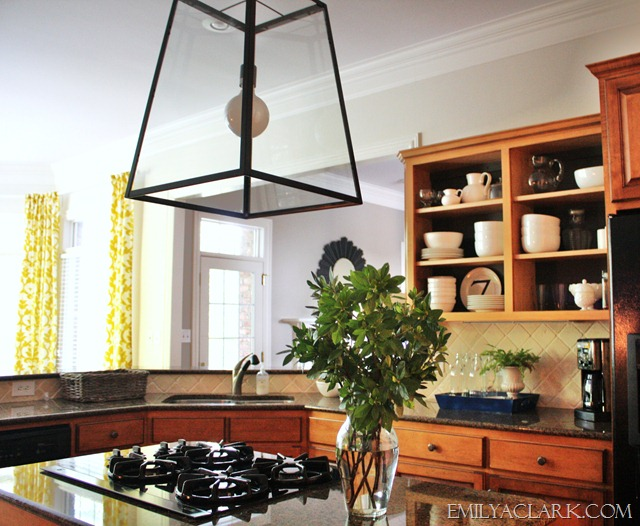 lantern pendant over the kitchen island