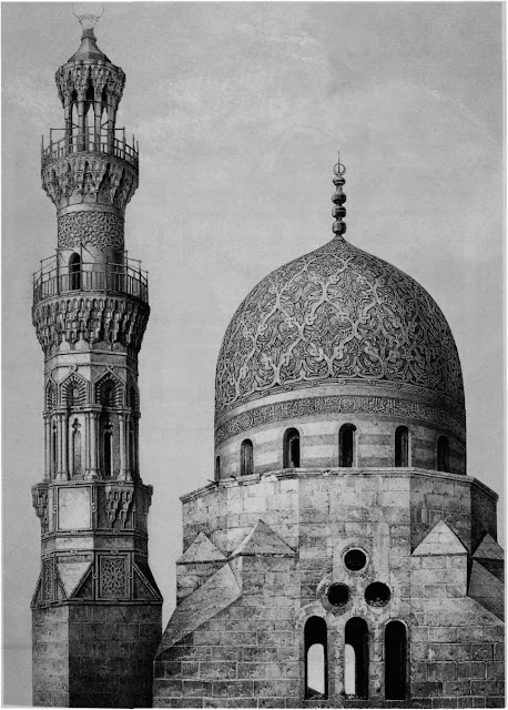 Dome and minaret of Khayr-Bek, 16th century. Prisse discusses this essentially Mamkike design as an anomaly. Although Emir Khayr-Bek betrayed Sultan al-Ghuri and cooperated with the Ottomans, for which he was favored with the governorship of Egypt, opportunism did not Override his aesthetic sensibilities,