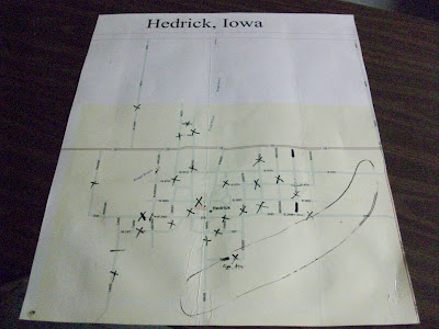 Map of Hedrick with damage area circled