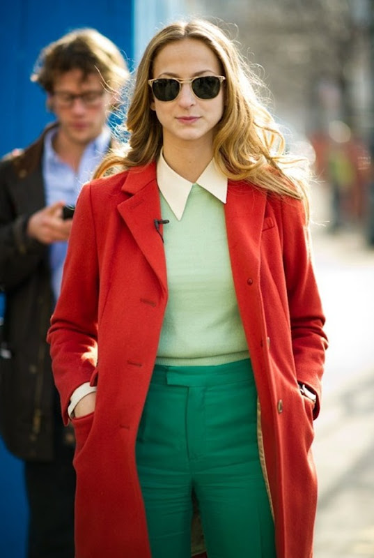 Dapper-Color-Block-Color-Blocking-Le-21eme-Arrondissement-New-York-Fashion-Week-New-York-City-Street-Style-Fashion-Red-Coat-Jakcet-Off-White-Cream-Collared-Shirt-Mint-Sweater-Knit-Green-Pants-Sunglasses