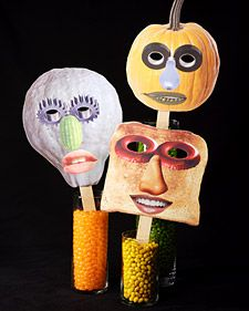 These masks are the models for this simple Halloween craft you can find on MarthaStewart.com.