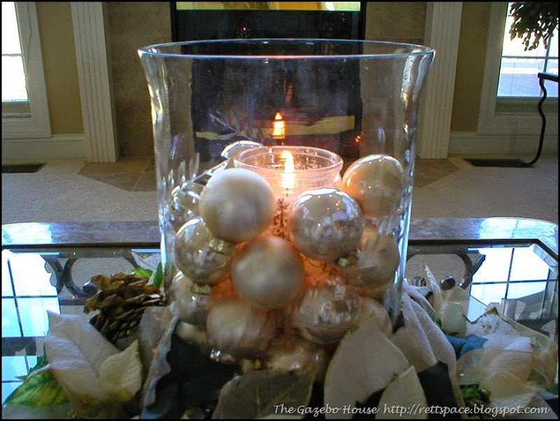 Christmas coffee table centerpiece, close-up