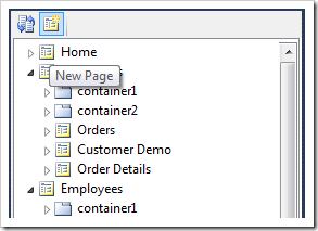 New Page icon at the top of Project Explorer window.