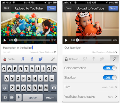 Telas do app YouTube Capture