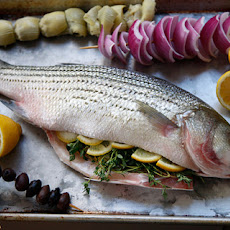 Whole Grilled Bass with Olives, Onion, and Artichoke Recipe