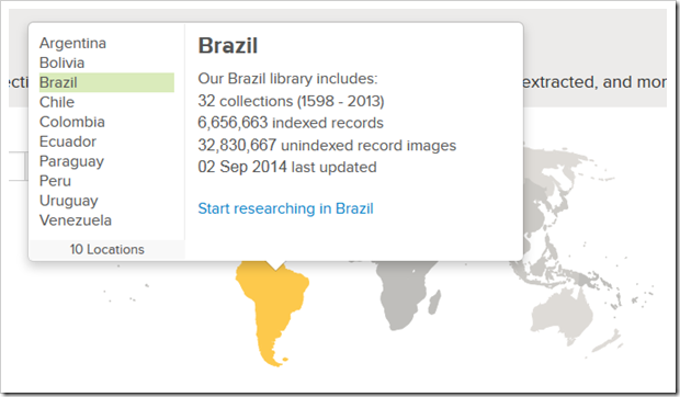 Click a continent, then click a country to see the size of FamilySearch's offerings for that country.
