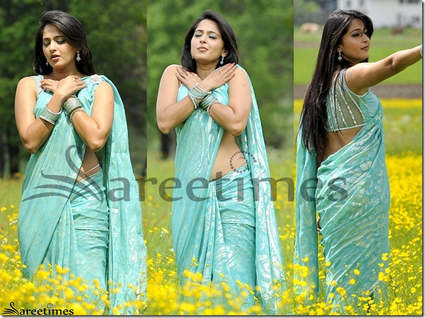 Anushka_Blue_Saree