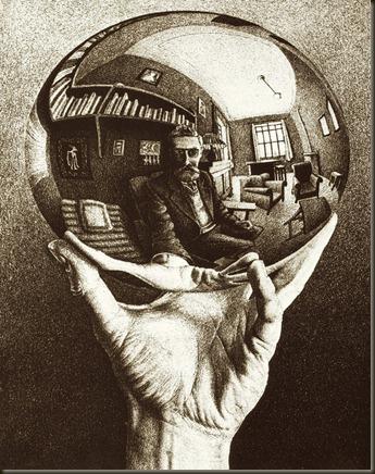 M C Escher - Hand with Reflecting Sphere (1935)