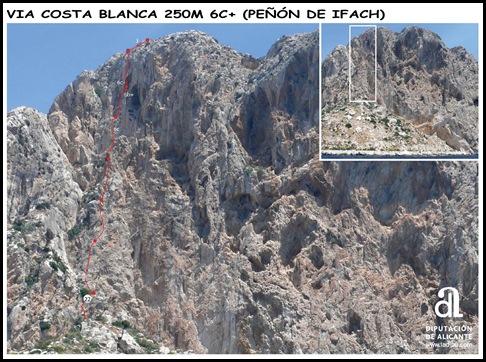 Peon de Ifach - Sur - Costa Blanca 250m 6c  (6b A0 Oblig) (Foto) (senderosdealicante.com)