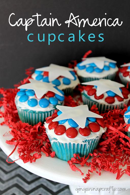 Captain America Cupcakes at GingerSnapCrafts.com #shop