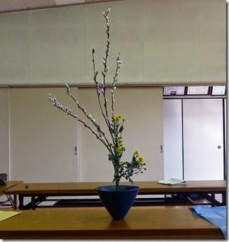 【生花二種生け】ネコヤナギ、菊