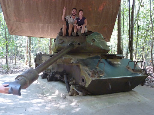 Sitting proud on an American M41 tank, destroyed in landmine in 1970. Also a geocache!