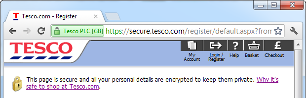 Tesco page claiming it is secure