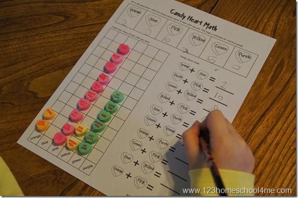 Valentines Day Math - candy heart math worksheet for 1st grade