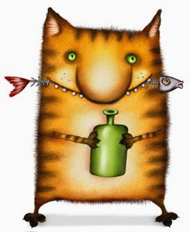 Кот с бутылкой и хребтом рыбы