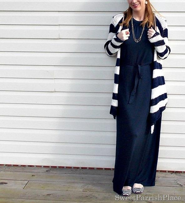 navy maxi dress, striped cardigan1